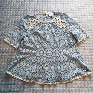 Anthropologie lace peplum top (label - HD brand)